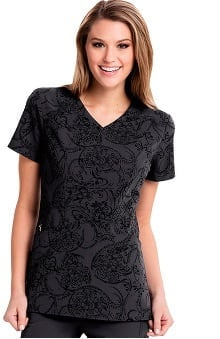 Careisma by Sofia Vergara Women's Sofia V-Neck Paisley Print Scrub Top