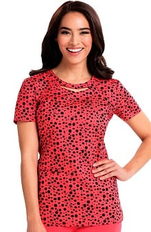 Careisma by Sofia Vergara Women's Audrey Cutout Neck Geometric Print Scrub Top