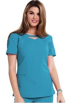Careisma by Sofia Vergara Women's Audrey Round Neck Solid Scrub Top