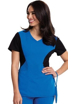Careisma By Sofia Vergara Women's Sofia V-Neck Colorblock Solid Scrub Top
