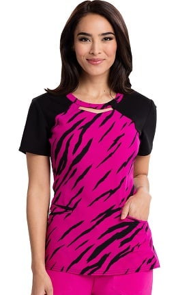 Careisma By Sofia Vergara Women's Audrey Cutout Neck Animal Print Scrub Top