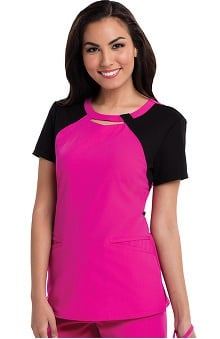 Careisma By Sofia Vergara Women's Audrey Cutout Neck Colorblock Solid Scrub Top
