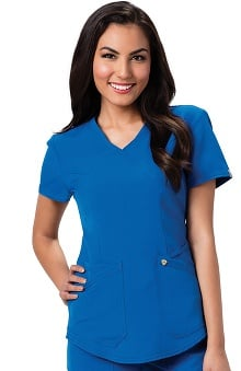 Careisma by Sofia Vergara Women's Charlize Mock Wrap Solid Scrub Top