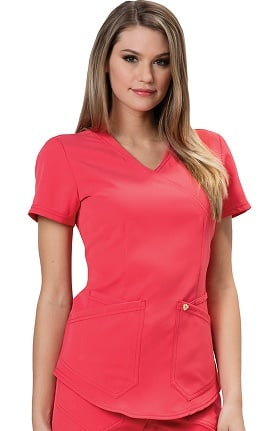 Clearance Careisma by Sofia Vergara Women's Charlize Mock Wrap Solid Scrub Top