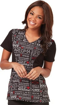 Careisma by Sofia Vergara Women's Sofia V-Neck Colorblock Text Print Scrub Top