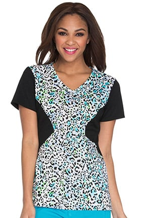 Careisma by Sofia Vergara Women's V-Neck Animal Print Scrub Top