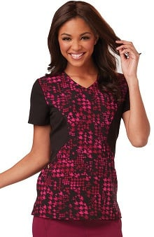 Careisma by Sofia Vergara Women's Sofia V-Neck Colorblock Houndstooth Print Scrub Top