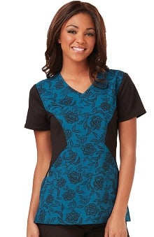 Careisma by Sofia Vergara Women's Sofia V-Neck Colorblock Floral Print Scrub Top