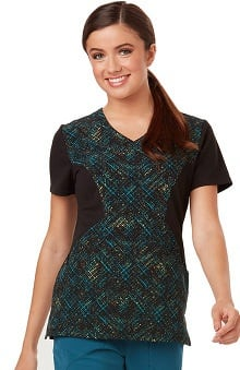 Careisma by Sofia Vergara Women's Sofia V-Neck Colorblock Plaid Print Scrub Top