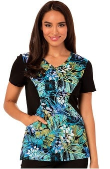 Careisma by Sofia Vergara Women's V-Neck Floral Print Scrub Top