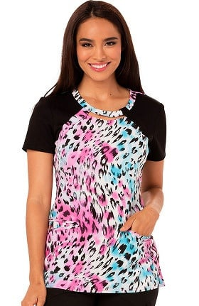 Careisma by Sofia Vergara Women's Round Neck Animal Print Scrub Top