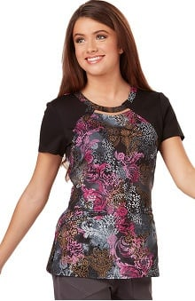 Careisma by Sofia Vergara Women's Audrey Cutout Neck Colorblock Floral Print Scrub Top
