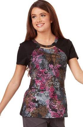 Clearance Careisma by Sofia Vergara Women's Audrey Cutout Neck Colorblock Floral Print Scrub Top
