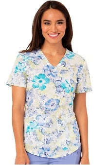Careisma by Sofia Vergara Women's Mock Wrap Floral Print Scrub Top