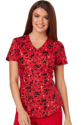 Careisma by Sofia Vergara Women's Charlize Mock Wrap Heart Print Scrub Top