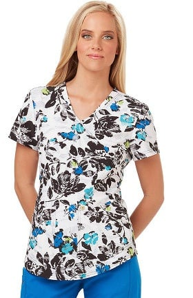 Careisma by Sofia Vergara Women's Charlize Mock Wrap Floral Print Scrub Top