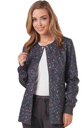 Clearance code happy Women's Snap Front Dot Print Warm-Up Scrub Jacket