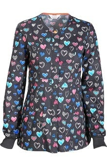 Code Happy With Antimicrobial Certainty Women's Snap Front Heart Print Warm Up Scrub Jacket