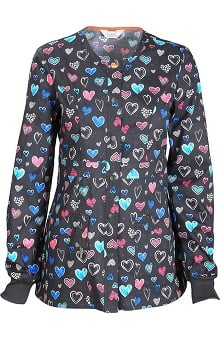 code happy™ With Antimicrobial Certainty Women's Snap Front Heart Print Warm Up Scrub Jacket