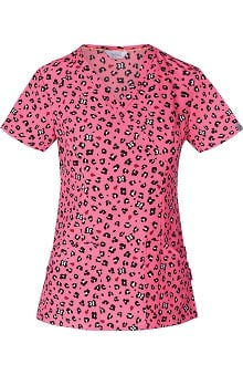 code happy™ with Antimicrobial Certainty Women's Mock Wrap Animal Print Scrub Top
