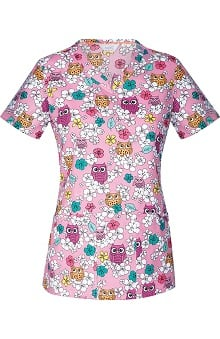 code happy™ with Certainty Antimicrobial Fabric Technology Women's V-Neck Owl Print Scrub Top