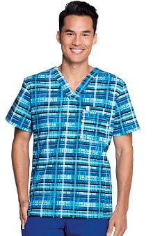 code happy™ with Certainty Antimicrobial Fabric Technology Men's V-Neck Plaid Print Scrub Top