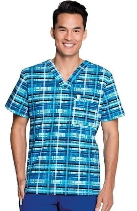 Clearance code happy Men's V-Neck Plaid Print Scrub Top