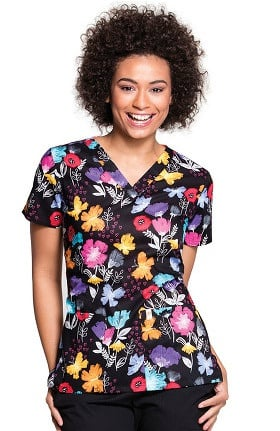 Clearance code happy Women's V-Neck Floral Print Scrub Top