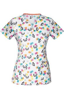 code happy™ with Antimicrobial Certainty Women's V-Neck Butterfly Print Scrub Top