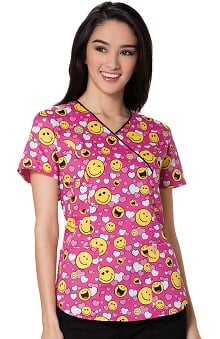 code happy™ Women's Mock Wrap Heart Print Scrub Top