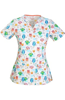 code happy Women's V-Neck Owl Print Scrub Top