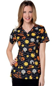 Code Happy™ Women's V-Neck Halloween Print Scrub Top