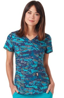 code happy™ Women's Mock Wrap Camo Print Scrub Top