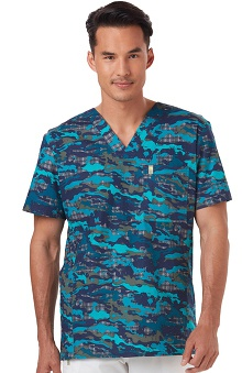 Clearance code happy™ Men's V-Neck Camo Print Scrub Top