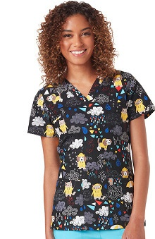 code happy™ Women's V-Neck Pets Print Scrub Top