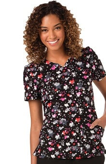 code happy Women's V-Neck Star Print Scrub Top