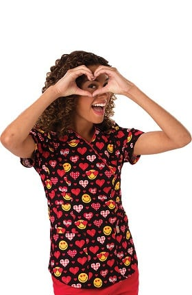 code happy Women's Mock Wrap Heart Print Scrub Top