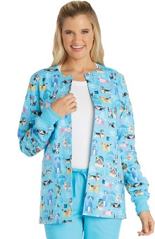 Cherokee Women's Snap Front Pets Print Warm-Up Scrub Jacket