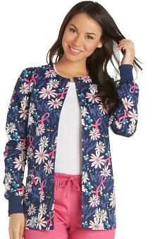 Breast Cancer Awareness by Cherokee Women's Snap Front Floral Print Warm-Up Scrub Jacket