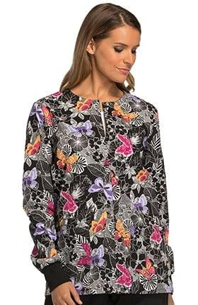 Cherokee Women's Snap Front Butterfly Print Scrub Jacket