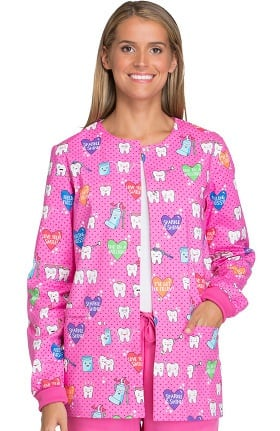 Clearance Cherokee Women's Snap Front Dental Print Warm-Up Scrub Jacket