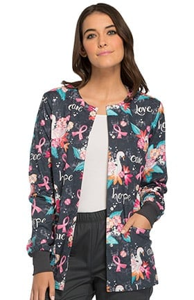 Breast Cancer Awareness by Cherokee Women's Snap Front Floral Print Scrub Jacket