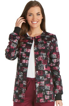 Cherokee Women's Snap Front Geometric Print Warm-Up Scrub Jacket