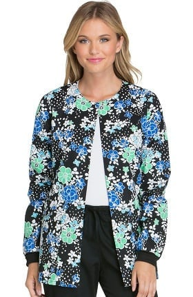 Clearance Cherokee Women's Snap Front Floral Print Warm-Up Scrub Jacket