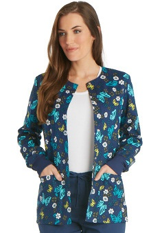 Cherokee Women's Snap Front Butterfly Print Warm-Up Scrub Jacket
