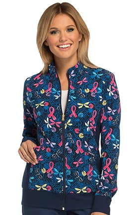 Breast Cancer Awareness by Cherokee Women's Zip Front Butterfly Print Scrub Jacket