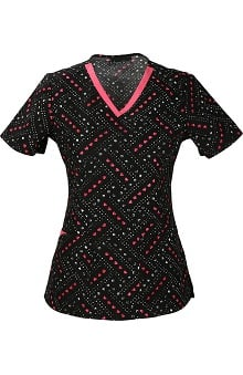 Cherokee Women's V-Neck Heart Print Scrub Top