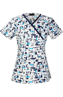 Clearance Cherokee Women's Mock Wrap Abstract Print Scrub Top