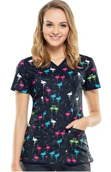 Cherokee Women's Mock Wrap Flamingo Print Scrub Top