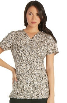 Cherokee Women's Mock Wrap Animal Print Scrub Top